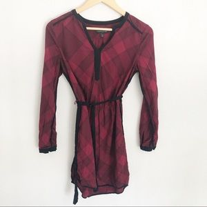 BP Long Sleeve Plaid Tie Waist Shirt Dress